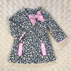 Nanette Leopard Print Dress Pink Gray Bow 12M